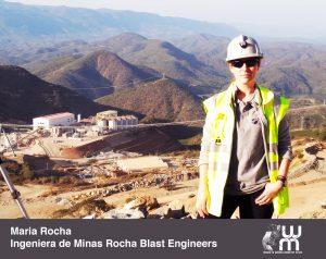 Maria Rocha con una mina al fondo
