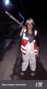 Olaya Suárez trabajando en la mina